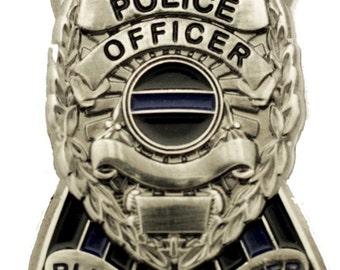 Thin Blue Line Ribbon Police Shield Badge Blue Lives Matter Pin SKU: PI275