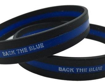 Single Back the Blue Thin Blue Line Wristband SKU: WB18-0001