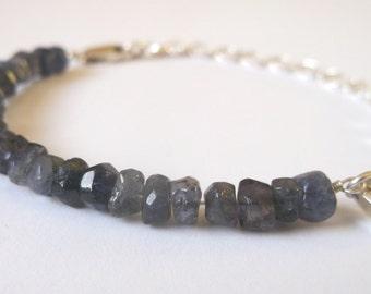 Iolite and sterling silver bracelet