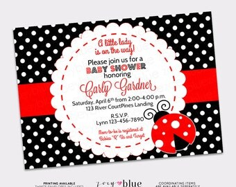 Ladybug Baby Shower Invitation Lady Bug Invitation My Little Lady Bug Red Stripe, Black & White Polka Dots Printable Digital File
