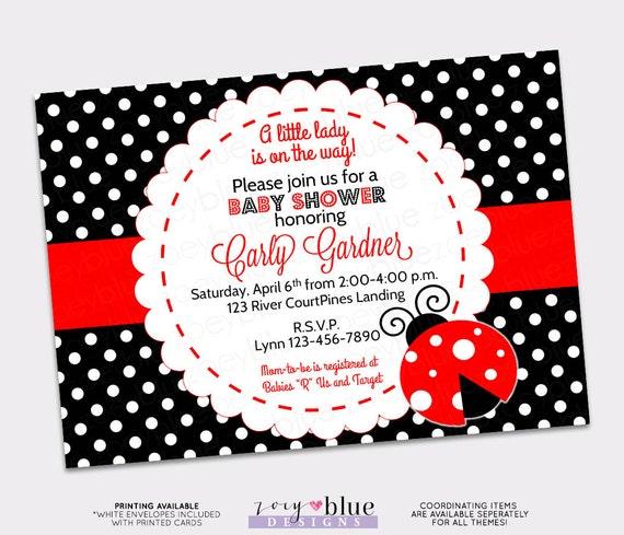 Ladybug Baby Shower Invitation Lady Bug Invitation My Little
