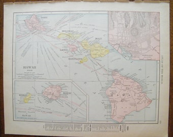 Antique Vintage authentic 1913 Map of Hawaii Pre statehood Rand McNally Atlas of the world 103 year old map