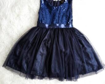 Navy flower girl's dress. Navy sequined tutu dress, birthday dress, girl's dress, wedding flower girl dress