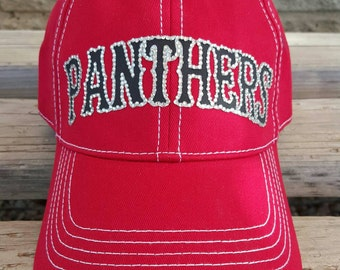 Baseball Mom Team Hat, Panthers Baseball Team Hat, Baseball or softball mom bling trucker caps, your teams name in colors of your choice