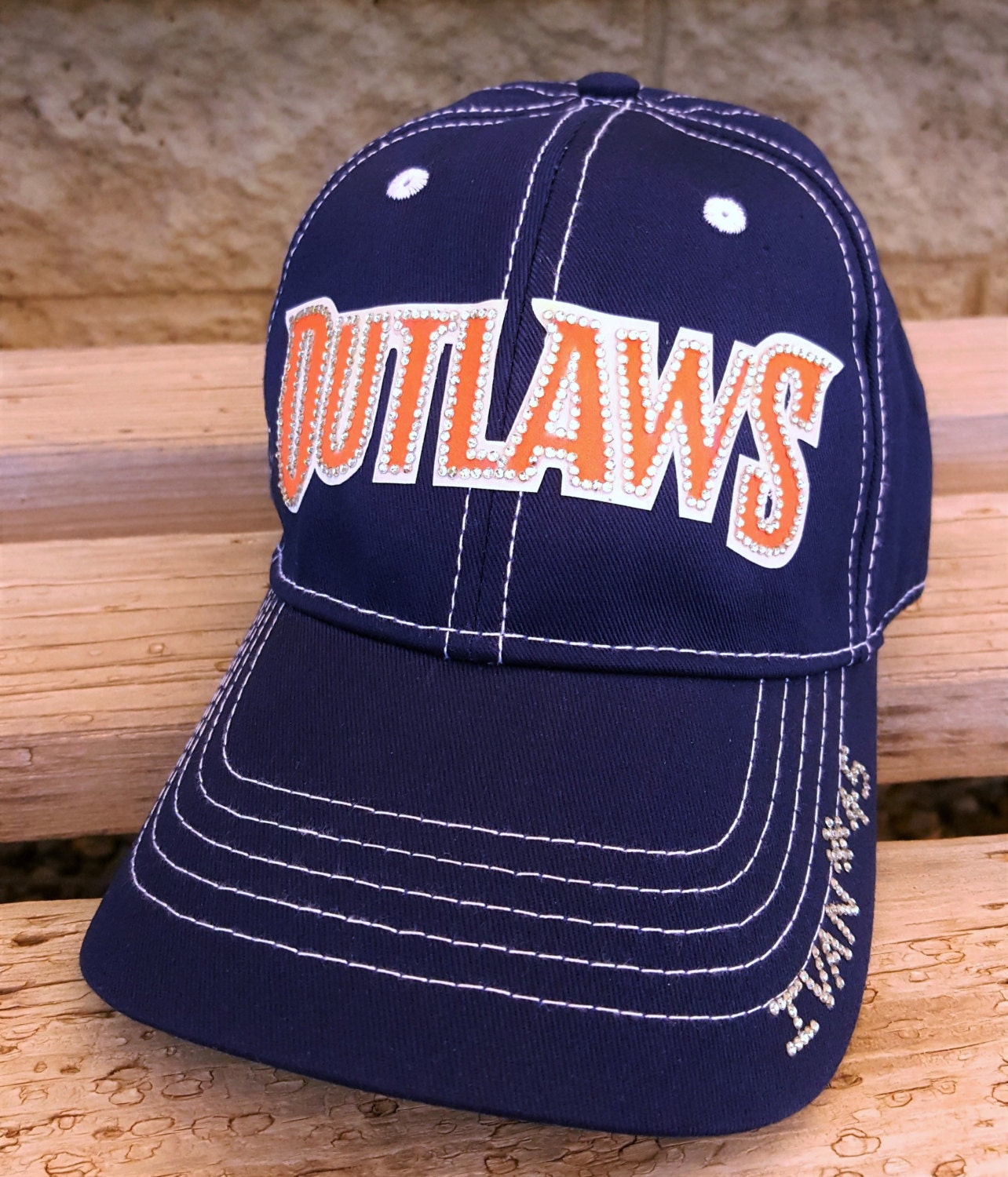 outlaws baseball team hat custom bling baseball team