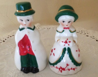 Vintage  Country People Bell Figurine of Girl and Boy Red and Green- Christmas Bells