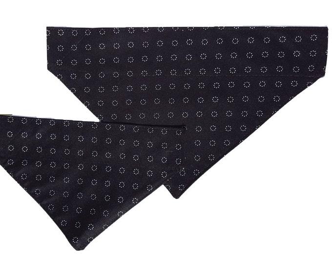 Dog Bandana - Black Vintage Circle design Sliding Bandana