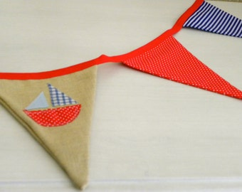 Sailboat blue and red with linen bunting