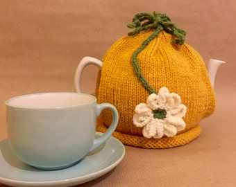 Flower Tea Cosy - Hand Knitted Tea Cozy - Tea Pot Cosy