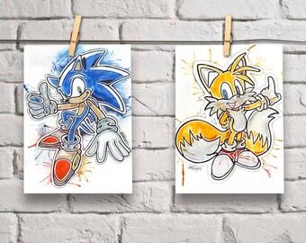 Sonic the Hedgehog & Tails [2 x ORIGINAL ARTWORKS]