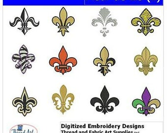 Embroidery Design CD - Fleur-de-Lis(1) - 12 Designs - 9 Formats - Threadart