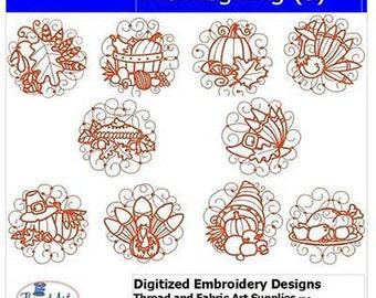 Embroidery Design CD - Thanksgiving(3) - 10 Designs - 9 Formats - Threadart