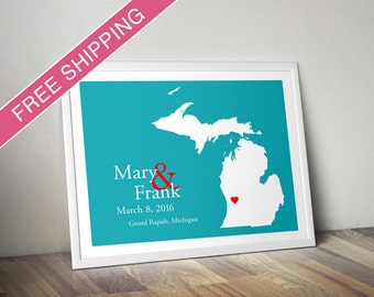 Custom Wedding Gift : Personalized Wedding Location and State Map Print - Michigan - Engagement Gift, Wedding Guest Book