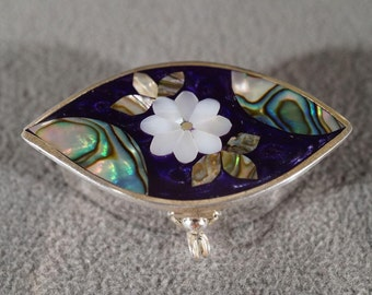 Vintage Sterling Silver Multi Shaped Abalone Mother Of Pearl Black Onyx Trinket Pell Box #966 **RL