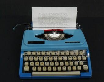 Vintage Royal Century Portable 2-Tone Blue Manual Typewriter Made in Japan 60's
