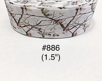 "2/3/5 yard - 1.5"" Tree Branch Nature on White Grosgrain Ribbon Hair bow"