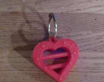 3D Printed Heart keychain in Red