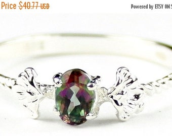 Valentines Sale 30% Off, SR192, .50ct Mystic Fire Topaz, 925 Sterling Silver Ring