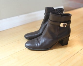 vintage brown leather slip on oxford ankle boots womens 6 1/2 *