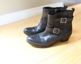vintage black buckle ankle boots western riding booties womens 9