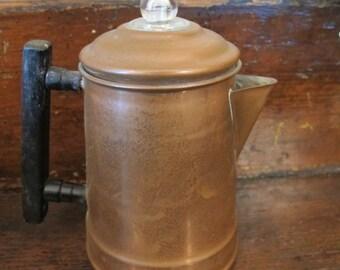 Small Vintage Copper Coffee Perk Pot