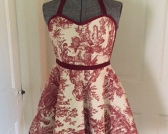 Red Toile Apron