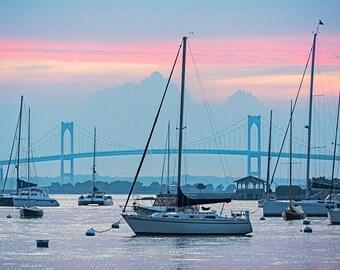 Newport RI, Pell Bridge, Newport Harbor, Rhode Island, Sunset, Newport Photography, Newport Art