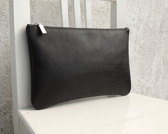 Leather Zipper Pouch /Black Leather Clutch/ready to ship