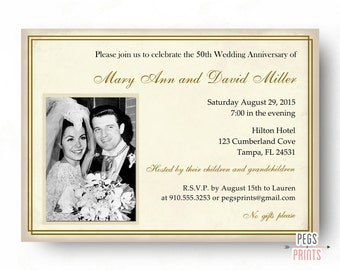 50th wedding anniversary invitations 50th anniversary invitation printable golden anniversary invites elegant - 50th Wedding Invitations