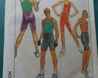 Sherry Holt Design Medium Very Fitted Tank Top and Pull On Shorts Stretch Knits Only Complete Vintage 80s Simplicity Sewing Pattern 8562