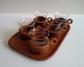 Mid Century Tea glasses with Teak Tray.
