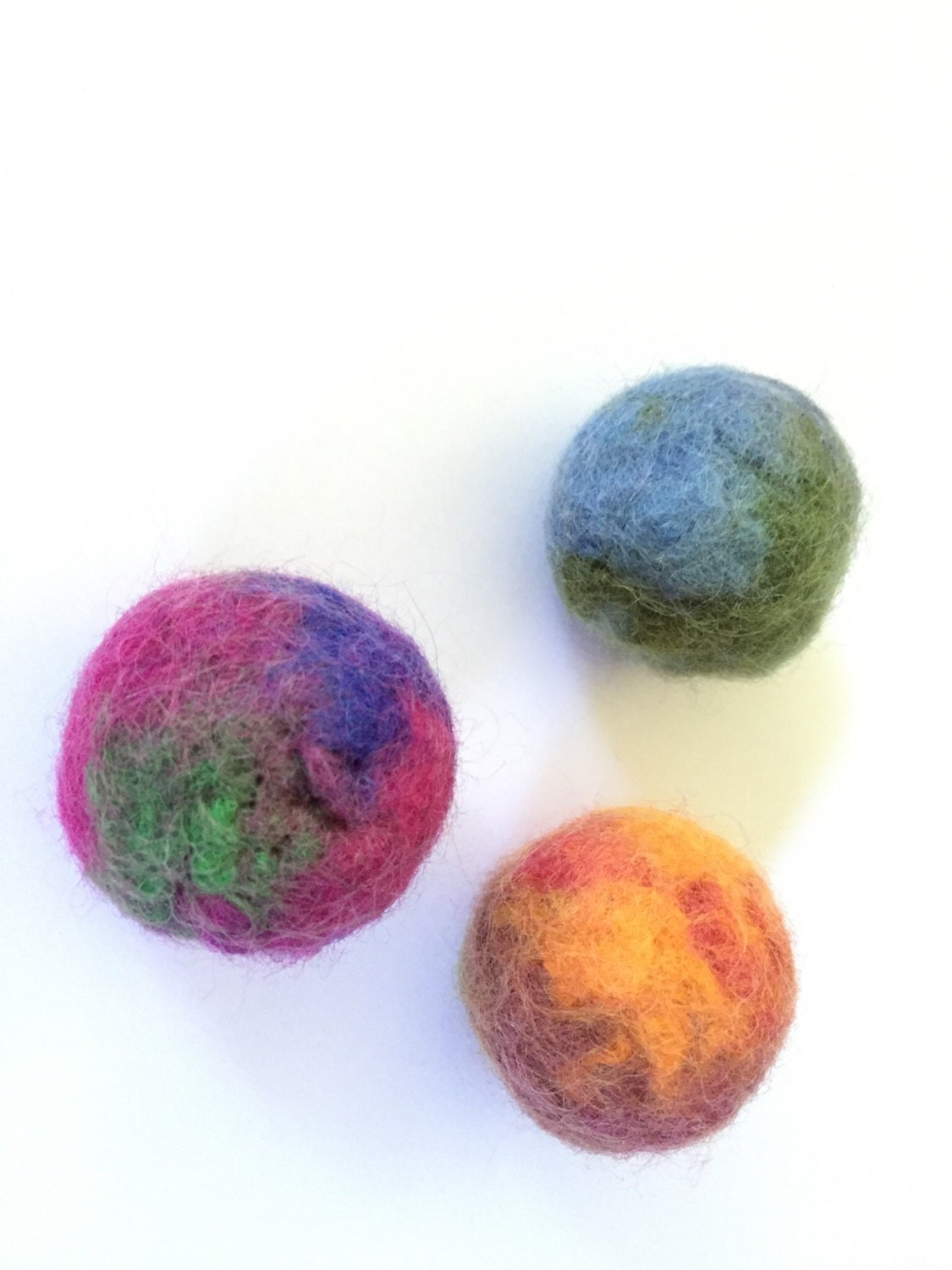 Cat Toys Balls : Felted wool ball cat toys marbled bouncy balls catnip