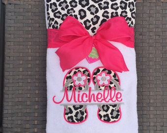 Flip Flop Happy!!! Embroidered! Beach Towel or Lounge Chair Towel with Monogrammed Flip Flops