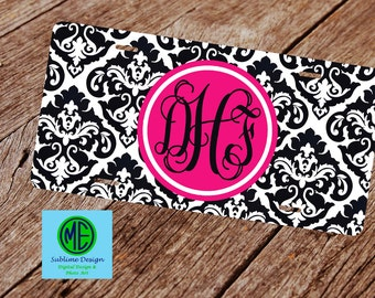 Damask License Plate. License Plate Frame.  Monogram License Plate. Black and White License Plate. Front Car Tag and License Plate.