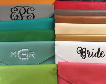 Clutch Purse- Monogrammed Clutch- Personalized evenlope clutch- Bridesmaid gift --Bridal Purse -- SALE--Monogram Clutch