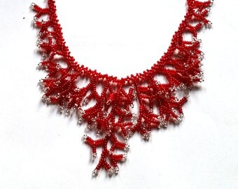 Silver Red Necklace. Beaded Necklace. Gift For Women. Beadwork.