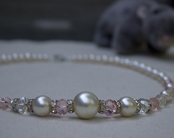 Glass pearl necklace with pink crystals and glass beads  008
