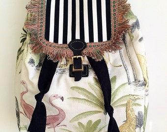 Handmade rucksack/backpack with lions, flamingos, giraffes and zebra fabric
