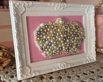 Shabby Chic Framed Crown Pearl Mosaic White Pink Ornate Nursery Art Home Dorm Office Picture Decor Only One Available OOAK One Of A Kind