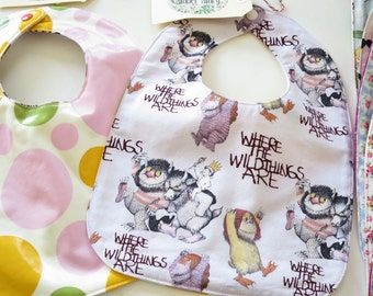 "White Baby Bib ""Where the Wild Things Are""  with Waterproof Backing"