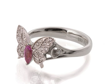 Butterfly Engagement Ring - 18K White Gold and Pink Sapphire engagement ring, Marquise, unique engagement ring, pink sapphire ring, art deco