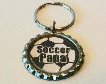 Fun Soccer Ball Soccer Papa Grandfather Metal Flattened Bottlecap Keychain Great Gift