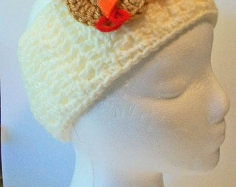 Trendy Cream Ivory Thanksgiving Turkey Hand Crocheted Headband Ear Warmer Child & Adult Sizes Available