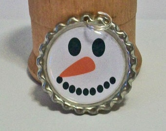 Christmas Fun Snowman Frosty Inspired Flattened Bottlecap Pendant Necklace