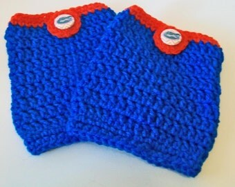 Trendy Orange and Blue Gators Inspired Hand Crocheted Boot Cuffs Cute Accessory 5 Sizes Available