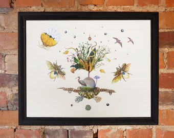 Surreal Print - Collage Art - Animals- Tree- Flowers- Print- Poster- Wall Decoration- Firefly - Bugs - Stars- Fantasy- Cosmic