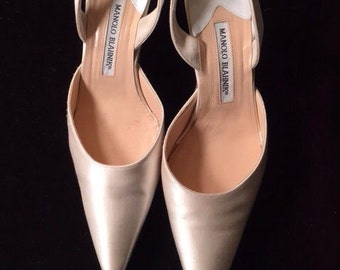 Manolo Blahnik Satin Slingbacks