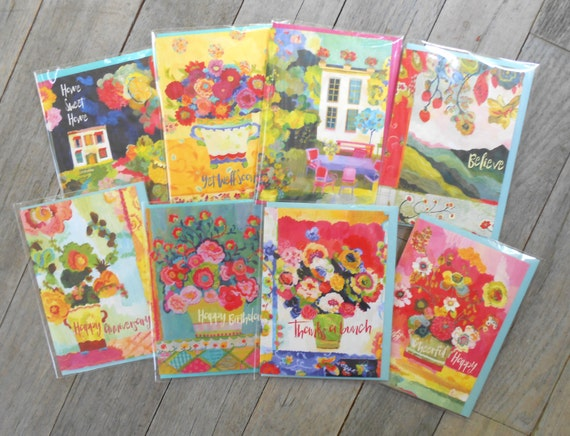 8 Greeting card set by Kimberly Hodges, assortment greeting cards by Kimberly Hodges, bright assorted greeting cards, 5 x 7 greeting cards
