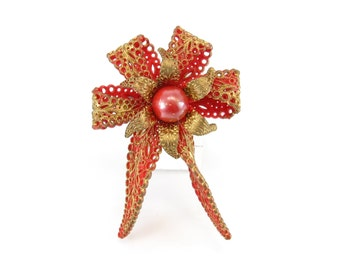 Vintage Red Ribbon Brooch, Early Plastic, Gold Tone, Lacy Pattern