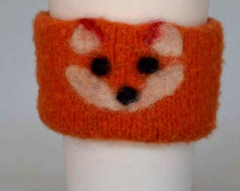 Felted  Coffee Cozy - Felt Wool Knit - Fox Coffee Cozy